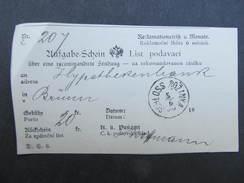 Aufgabeschein Schloss Rozinka  - Brünn  ////  D*24724 - Briefe U. Dokumente