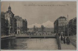 Geneve - Vue Des Ponts De L'Ile J.-J. Rousseau - Animee - GE Genève