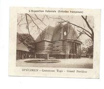Chromo Cameroun Togo Grand Pavillon Exposition Coloniale 1931 Pavillon Pub: Vache Qui Rit Spécimen Bien 76 X 58 Mm - Kaufmanns- Und Zigarettenbilder