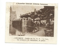 Chromo  Exposition Coloniale 1931 Palais De L'A.O.F. Pub: Vache Qui Rit Spécimen Bien 76 X 58 Mm - Kaufmanns- Und Zigarettenbilder