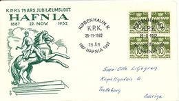Denmark Cover HAFNIA Exhibition KPK 75 Th. Anniversary 25-11-1962 Sent To Sweden - Danemark