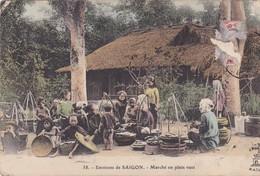 """Cartes Postales > Asie > Indochine Viet-nam Saigon Environ  """" Marché En Plein Vent"""" - Viêt-Nam"""