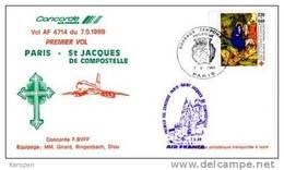 (1042A) Concorde Premier Vol Paris St Jacques De Compostelles 07/05/88 - Concorde