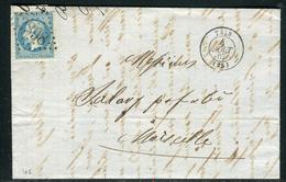 France - Lettre  ( Avec Texte ) Départ De Tain Pour Marseille En 1867 , étiquette Commerciale Au Verso - Ref  J 64 - Marcophilie (Lettres)