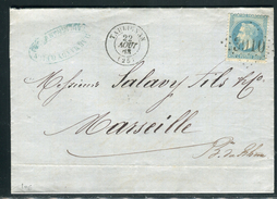 France -Lettre Avec Texte De Taulignan Pour Marseille En 1868, étiquette Commerciale Au Verso - Ref  J 66 - Marcophilie (Lettres)