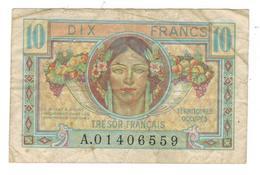 France , 1947 Tresor Francais 5 Fr , Post World War II Military Issue Pick# M6 ,VF. - Treasury