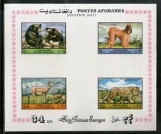 Afghanistan 1974 Wildlife Animal Black Bear Leopard Sc 896a Imperf M/s MNH # 7649 - Afghanistan
