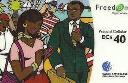Caribbean Isl. - G&W, Cellular Prepaid, GSM Refill Freedom, 40 EC$, Used - Phonecards