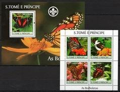 Sao Tome 2004 MNH MS+SS, Butterflies, Scout - Butterflies
