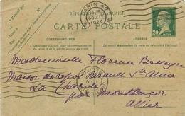 FRANCE - Entier Postal Type Pasteur De PARIS Pour LA CHARITE Par MONTLUCON (03 - ALLIER) - CIRCULE EN 1926 - Cartes Postales Types Et TSC (avant 1995)