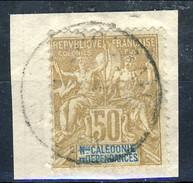 Nouvelle Caledonie 1900-04 N. 64 C. 50 Bistro E Blu Su Azzurro Usato Su Frammento Cat. € 52 - Nuova Caledonia