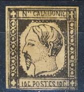 Nouvelle Caledonie 1859 N. 1 C. 10 Grigio Nero M Piccolo Assottigliamento Al Verso Cat. € 320 - Nuova Caledonia