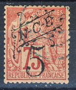 Nouvelle Caledonie 1892-93 N. 37 C. 5  Su X. 75 Rosa Usato Cat. € 20 - Nuova Caledonia