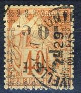 Nouvelle Caledonie 1891-92 N. 13a C. 10 Su C. 40 Rosso-arancio Sovrastampa Rovesciata Usato Cat. € 22 - Nuova Caledonia