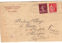 FR-L185 - FRANCE Lettre Du Transatlantique SS. CHAMPLAIN Exp. De Southampton 1937 Avec Timbres Français Pour Olliergues - Storia Postale