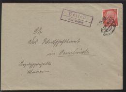 """Dt. Reich - 12 Pf Hindenburg Auf Brief Mit Landpost-Stempel """"Felsen über Bohmte"""", Gelaufen 27.8.1944 (?) - Alemania"""