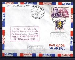 TP N°1300/1354 SUR LETTRE AVION DU 16.12.64 POUR LA MARTINIQUE  +  1° VOL - Marcophilie (Lettres)