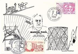FR-L186 - FRANCE Carte Souvenir Journée Marcel Paul De Mondonville 1983 Avec Vignette - Commemorative Labels