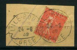 FRANCE  :  Y&T  N°  199   SUR  FRAGMENT  C A D   DE  CORSE  DU  24  AOUT  1932  , A  VOIR . - Marcophilie (Timbres Détachés)