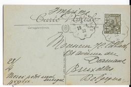ALGERIE - 1932 - CARTE Avec AMBULANT TLEMCEN à ORAN => BRUXELLES (BELGIQUE) - Covers & Documents