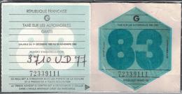 VIGNETTE FISCALE TAXE SUR LES AUTOMOBILES / ANNEE 1983 / GRATIS - Fiscaux