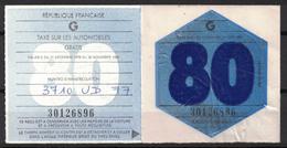 VIGNETTE FISCALE TAXE SUR LES AUTOMOBILES / ANNEE 1980 / GRATIS - Fiscaux