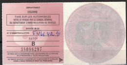 VIGNETTE FISCALE TAXE SUR LES AUTOMOBILES / ANNEE 1987 / 5 À 7 CV / ESSONNE - Revenue Stamps