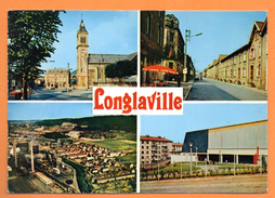 54. Longlaville. L' église Et La  Mairie. La Rue Alsace, Lorraine. Vue Aérienne. Le Complexe Sportif. 1987 - Autres Communes