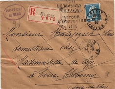 REC - L65 - FRANCE N° 181 Pasteur Sur Lettre Recommandée De Blois Pour Cheverny Cachet Retour à L'envoyeur 1928 - France