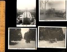 X 4 Photographies Vers 1920 Automobile Voiture Pilote Près De Hauteville Ain Col De La Lèbe Et Tullins Isère - Automobiles