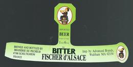 Etiquette Biere Fischer Schiltigheim The Bitter Fischer D'Alsace Imported Beer - Bière