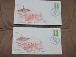 LOT De 2 Enveloppes Identiques Avec Timbre à 2.20F: 3 ème Foire Du Sucre Guignicourt 02 Du 17/05/1992 - Documents De La Poste