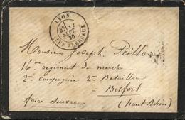 France Guerre De 1870 : Lettre De Lyon 12 Sept 70 En Franchise - TTB Qualité - Guerra De 1870