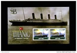 IRELAND/EIRE - 1999  TITANIC  MS OVERPRINTED AUSTRALIA STAMP EXPO MINT NH - Blocchi & Foglietti