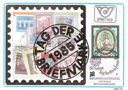"""1985, Maximumkarte """"Tag Der Briefmarke"""" Mit Sonderstempel ÖVEBRIA 85 - Tag Der Briefmarke"""