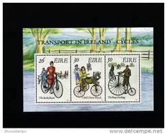 IRELAND/EIRE - 1991  TRANSPORT IN IRELAND  CYCLES  MS   MINT NH - Blocchi & Foglietti
