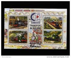 IRELAND/EIRE - 1995 TRANSPORT IN IRELAND RAILWAYS MS OVERPRINTED SINGAPORE MINT NH - Blocchi & Foglietti