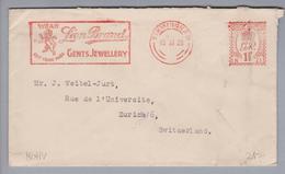 Motiv Schmuck Brief Von GB Birmingham 1928-11-15 Firmen-Freistempel Lion Brand Gents Jewellery - Timbres