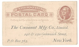 UX8 Postal Stationery Card Gold Coated Back Advertising Coconut Mfg Co New York Pre-Printed - Postal Stationery