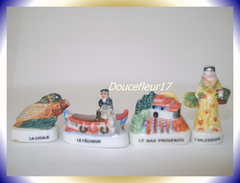 Lou Et Cigalou .. Lot De 4 Fèves  ...Ref AFF : 90-2004 ...(Pan 0033) - Regions