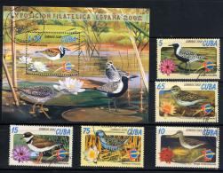 CUBA 2002, ESPANA 2002, OISEAUX, 5 Valeurs Et 1 Bloc, Oblitérés / Used. R1594-5 - Oiseaux