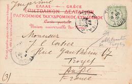 Entier Postal Imprimé Corfu Greece Oblitération Française Troyes Aube - Postal Stationery