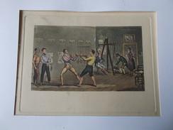 ESTAMPE GRAVURE Anglaise XIXe Couleur Salle De Sports Combat De Boxe  Escrime Prete à être Encadrée - Prints & Engravings