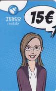 Slovakia-Slovaquie Tesco Mobile 15 €, Plastic Magnetic Card - Slovaquie