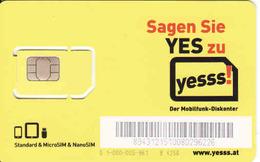 Austria, Yesss, Des Mobilfunk-Diskonter, GSM SIM Mint - Autriche