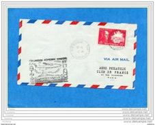 MARCOPHILIE-lettre-1ère Liaison Aérienne Martinique Françe-cad Fort De Françe 6 -7-1947-+Vignette  évenement - Luchtvaart