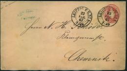1867, LEIPZIG P.E. No. 1 Somer Nachverwendeter K2 Auf Preussen 1 Gr. Wappenumschlag. - Sachsen
