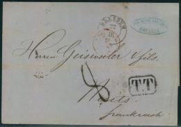 """1862, Trasitbrief Ab DRESDEN Und Besserem Transitstempel """"""""TT"""""""" Und Anderen Nach Frankreich. - Sachsen"""