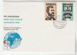1976 RHODESIA FDC Stamps TELEPHONE, GRAHAM BELL Cover Telecom - Telecom
