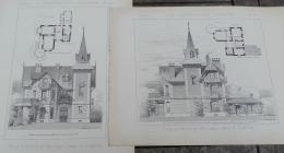 CONSTRUCTION MODERNE 1889-90 N°74-75:VILLA A CHOISY-AU-BAC(OISE) ARCHITECTE M.GIRETTE/02 GRAVURES - Estampes & Gravures